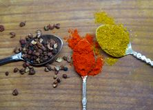 Chiuda su della polvere del curry, del pepe e della paprica Immagine Stock