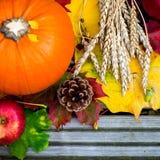 Chiuda su della zucca, del grano e di Autumn Leaves arancio su Woode Fotografia Stock Libera da Diritti