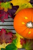 Chiuda su della zucca e di Autumn Leaves arancio su Backg di legno Immagini Stock Libere da Diritti