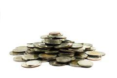 Chiuda su delle azione delle monete tailandesi, fotografie stock