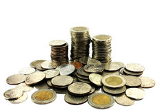 Chiuda su delle azione delle monete tailandesi, Immagine Stock