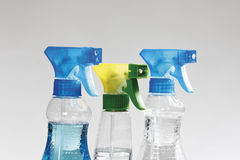 Chiuda su delle bottiglie dello spruzzo Fotografie Stock