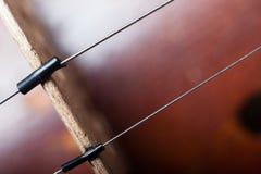 Chiuda su delle corde del violino attraverso il ponte immagine stock libera da diritti
