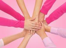 Chiuda su delle donne con le mani sulla cima Immagine Stock Libera da Diritti