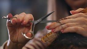 Chiuda su delle forbici di taglio dei capelli del ` s degli uomini in un salone di bellezza Pagina Chiuda su di un taglio di cape stock footage
