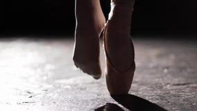 Chiuda su delle gambe femminili che stanno nella posa in riflettore su fondo nero in studio Un piede nel pointe e negli altri pie archivi video