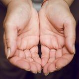 Chiuda su delle mani a coppa vuote femminili che tengono e che mostrano qualcosa Fotografia Stock