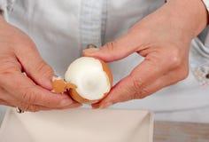 Chiuda su delle mani dell'uovo sodo delle coperture della donna Fotografia Stock
