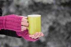 Chiuda su delle mani della donna in guanti di lana che tengono una tazza di tè fotografie stock libere da diritti