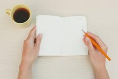 Chiuda su delle mani femminili con la matita e la tazza di tè Fotografie Stock Libere da Diritti