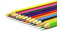 Chiuda in su delle matite di colore con colore differente Immagini Stock Libere da Diritti