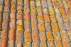 Chiuda su delle mattonelle rosse di struttura del tetto della vecchia ruggine Priorità bassa di architettura Fotografia Stock