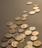 Chiuda in su delle monete internazionali Immagine Stock Libera da Diritti