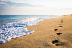 Chiuda su delle orme sulla spiaggia sabbiosa Fotografia Stock