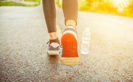 Chiuda su delle scarpe del ` s della donna che fanno un'escursione nelle montagne Fotografie Stock