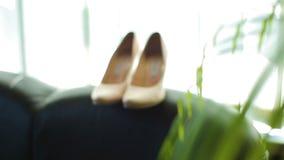 Chiuda su delle scarpe delle nozze delle spose visualizzate su un letto archivi video