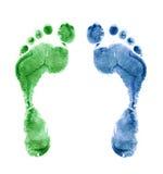 Chiuda in su delle stampe variopinte del piede isolate Fotografia Stock Libera da Diritti
