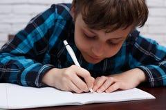 Chiuda su dello scolaro diligente che annota un compito in un notebo Immagine Stock Libera da Diritti