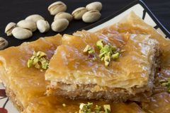 Chiuda su di baklava con i pistacchi Immagine Stock