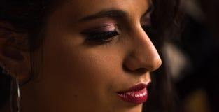 Chiuda su di bella ragazza con trucco professionale Fotografia Stock Libera da Diritti