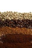 Chiuda su di cinque tipi differenti del caffè - fondo del caffè Immagine Stock Libera da Diritti