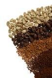 Chiuda su di cinque tipi differenti del caffè - fondo del caffè Fotografie Stock