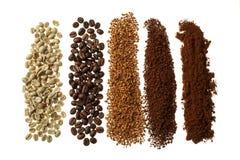 Chiuda su di cinque tipi differenti del caffè - fondo del caffè Fotografie Stock Libere da Diritti