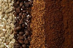 Chiuda su di cinque tipi differenti del caffè - fondo del caffè Immagini Stock Libere da Diritti
