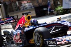 Chiuda in su di David Coulthard ad una dimostrazione F1 fotografia stock