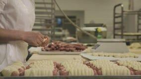 Chiuda su di elaborazione nell'industria alimentare scena Lavoratori alla fabbrica dell'alimento produrre le salsiccie in pasta stock footage