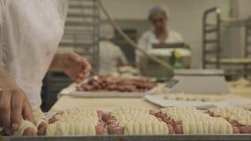 Chiuda su di elaborazione nell'industria alimentare scena Lavoratori alla fabbrica dell'alimento produrre le salsiccie in pasta immagini stock