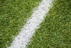 Chiuda su di erba e dei segni su calcio Immagini Stock