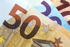 Chiuda su di euro soldi variopinti Euro priorità bassa dei soldi Immagini Stock Libere da Diritti