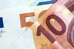 Chiuda su di euro soldi variopinti Euro priorità bassa dei soldi Fotografie Stock Libere da Diritti