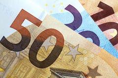 Chiuda su di euro soldi variopinti Euro priorità bassa dei soldi Fotografia Stock
