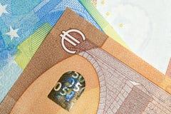 Chiuda su di euro soldi variopinti Euro priorità bassa dei soldi Immagine Stock Libera da Diritti