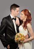 Chiuda su di giovane coppia piacevole di nozze Immagini Stock Libere da Diritti