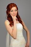 Chiuda su di giovane sposa piacevole di nozze Fotografia Stock