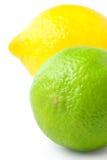 Chiuda in su di limetta fresca e del limone isolati su bianco Fotografia Stock