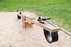 Chiuda su di oscillazione o del teeterboard sul campo da giuoco Fotografia Stock Libera da Diritti