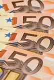 Fondo di 50 un euro banconote Fotografia Stock
