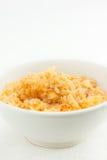 Chiuda su di risotto in una ciotola bianca, stanza per testo Fotografia Stock