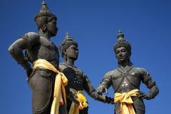 Chiuda su di tre re Monument nel centro di Chiang Mai, Tailandia Fotografia Stock