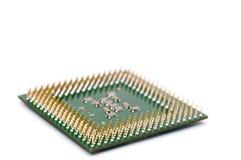 Chiuda in su di un chip del CPU del calcolatore Fotografie Stock