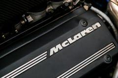 Chiuda su di un motore dell'automobile sportiva di McLaren F1 immagini stock libere da diritti