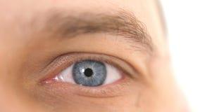 Chiuda su di un occhio maschio Dettaglio di un occhio azzurro di un uomo che esamina macchina fotografica fotografia stock libera da diritti