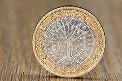 Chiuda su di un'una euro moneta francese Immagine Stock
