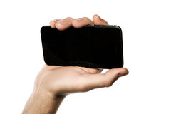 Chiuda su di un uomo che per mezzo dello Smart Phone mobile Fotografia Stock Libera da Diritti
