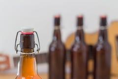 Chiuda su di una bottiglia di birra non aperta Immagine Stock