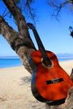 Chiuda su di una chitarra marrone su un albero della tamerice sulla spiaggia Priorità bassa blu del mare immagine stock libera da diritti